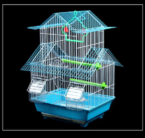 Bird Cage Portable Handle Wire Swing Perch Feeders  Two Story Small Bird Cage