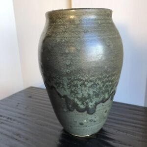 "Mid Century Modern Art Pottery Vase Dark Green Glaze 7"""