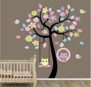 US-STOCK-Wall-Sticker-Owls-on-Swing-Tree-Kids-Nursery-Baby-Children-039-s-Room-decal