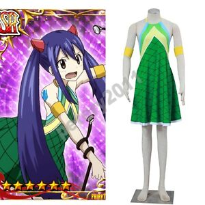Fairy Tail Wendy Marvell Green Dress Cosplay Costume Children Adult