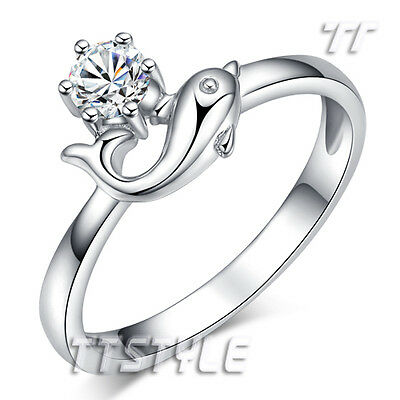 Lovely Quality TT Solid RHODIUM 925 Sterling Silver Dolphin Ring (RW36)