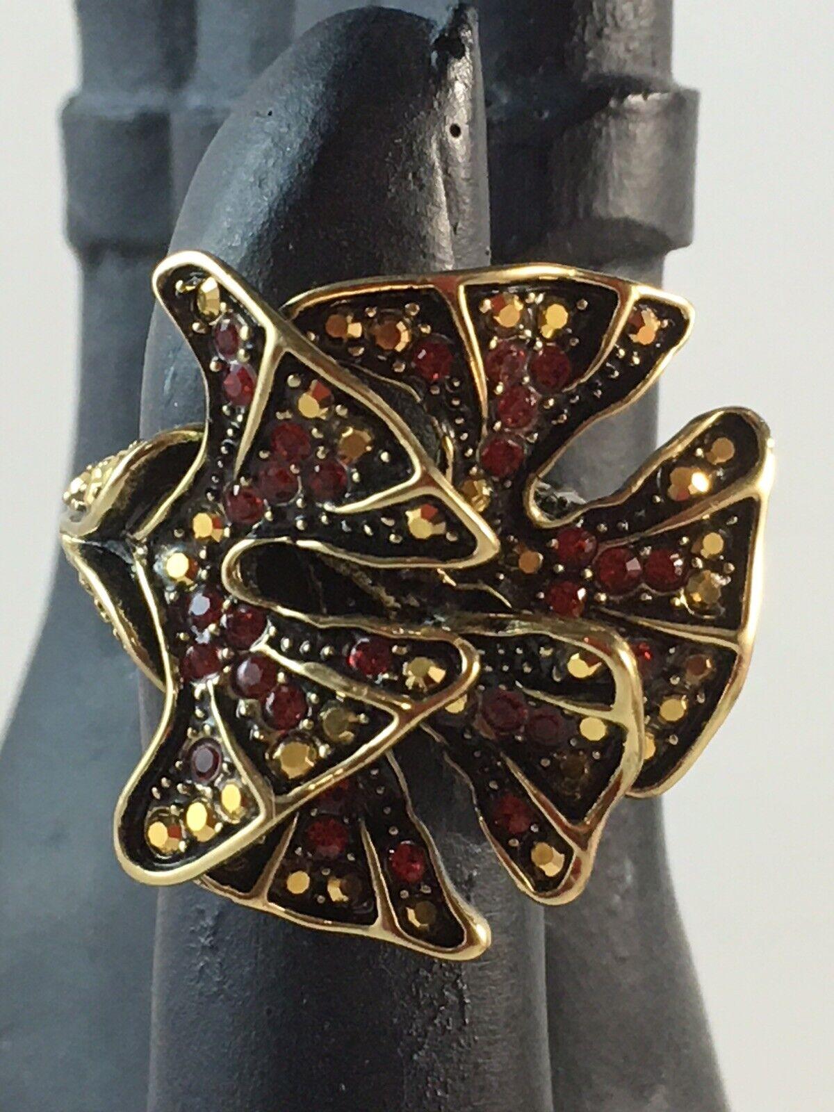 HEIDI DAUS  Ginkgo Leaf  Bronzetone Pave' Crystal Ring  Size 7