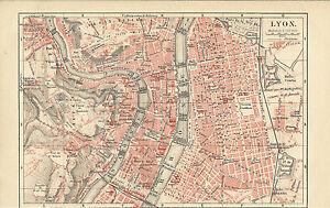 Lyon Karte.Details Zu 1888 Lyon Frankreich Original Alter Stadtplan Karte Old City Map Lithographie