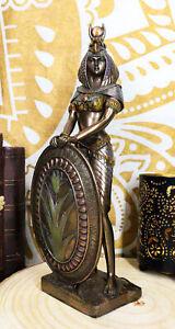 "Egyptian Isis Statue Goddess of Motherhood Magic 11""H Figurine Bronze Patina"