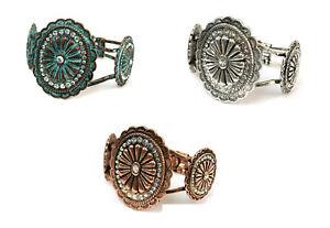 Rhinestone-Concho-Antique-Bangle-Bracelet-Patina-Turquoise-Blue-Silver-Copper