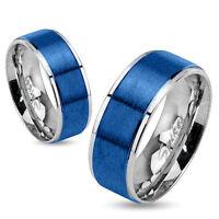 Stainless Steel 2-tone Brushed Blue Band Ring/wedding/step Edges/size 5-13(0026)