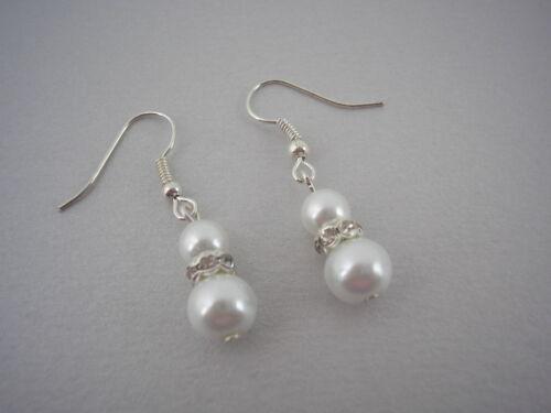 Color Perla Y Diamante gancho cuelgan pendientes de plata de dama de honor Oro Rosa 57 W