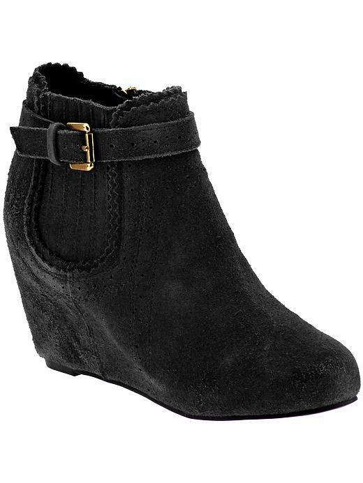 $120 size 8 Dolce Vita Parkers Black Suede Wedge Ankle Boots Womens Shoes