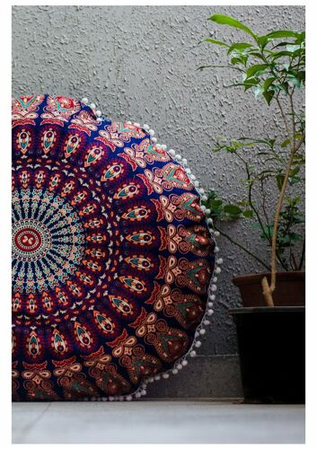 """32/"""" Inches Round Floor Pillow Ottoman Pouf Cushion Cover Hippie Bohemian Day Bed"""
