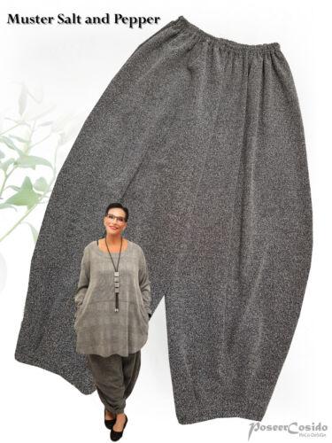 PoCo DeSiGn LAGENLOOK Ballonhose Hose Strick-Jersey schwarz grau L-XL-XXL-XXXL