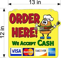 Order Here Sign Burger Man With Payment Options Hanging Plexiglass For Counter