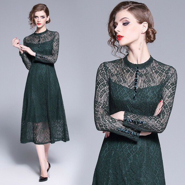Kleid kurz kleid schaukel frau élégant grün spitze mode hülle 4797