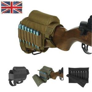 Uk Hunting Tactical Shotgun Rifle Butt Stock Ammo Pouch Holder W