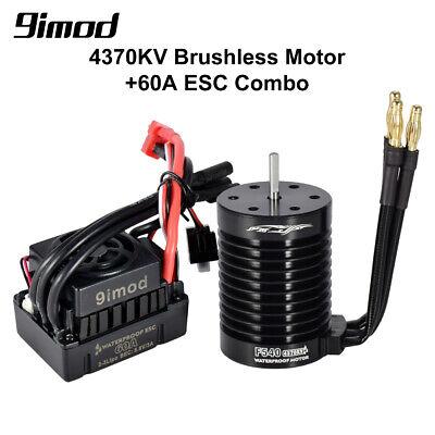 F540-V2 4370KV Brushless Waterproof Motor 3.175mm+60A ESC For 1//10 RC Car