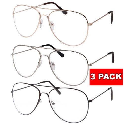 3 PAIR LOT Clear Lens Aviator Glasses Fashion Sunglasses Retro Vintage Men Women