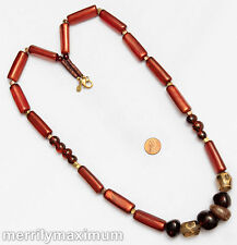 Chico's Signed Necklace Long Gold Tone Amber Color & Neutral Chunky Beads