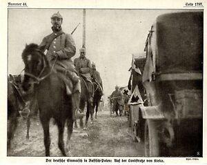 Deutscher-Einmarsch-in-Russisch-Polen-Landstrasse-von-Kielce-Bilddokument-1914