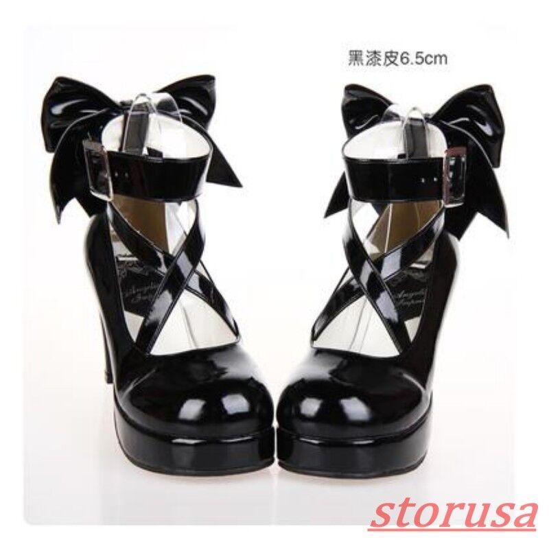 Womens Platform Chunky Heels Cross Strap Bowknot Lolita Cosplay Pump Shoes Size