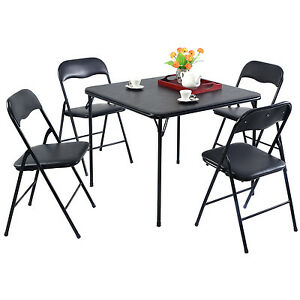 5pc Black Folding Table Chair Set Guest Games Dining Room