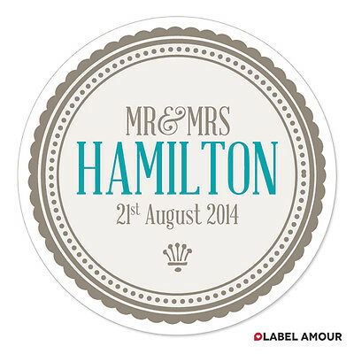 PERSONALISED Wedding Retro Bridal Party Bags Favour Sticker Labels - 017