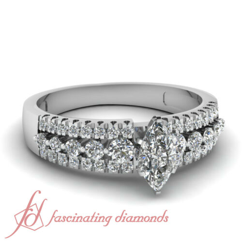 Three Row Pave Set Engagement Ring 0.85 Ct Marquise CutVery Good Diamond SI1
