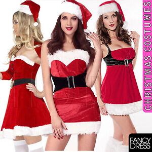 Ladies Deluxe Luxury Miss Santa Mrs Claus Christmas Grotto Fancy Dress Costume