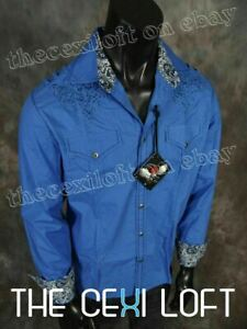 Mens-HOUSE-OF-LORDS-Button-Shirt-Blue-Stitch-with-Stones-Roar-with-Class