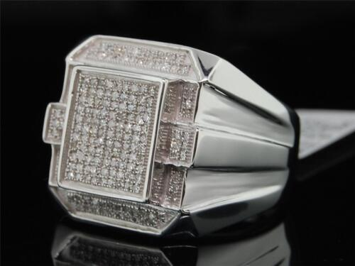 Homme Argent Sterling .925 .50 Ct Pave Diamond Pinky Ring