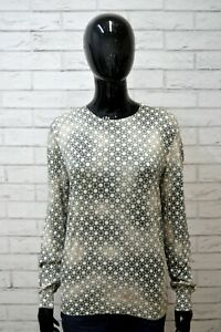 PRADA-Maglia-Donna-Taglia-50-XL-Polo-Manica-Lunga-Shirt-T-shirt-jersey-Seta-Pois