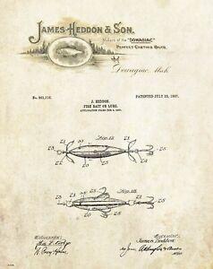 Fishing-Lure-Patent-Art-Print-Vintage-James-Heddon-Letterhead-Cabin-Decor-PAT498