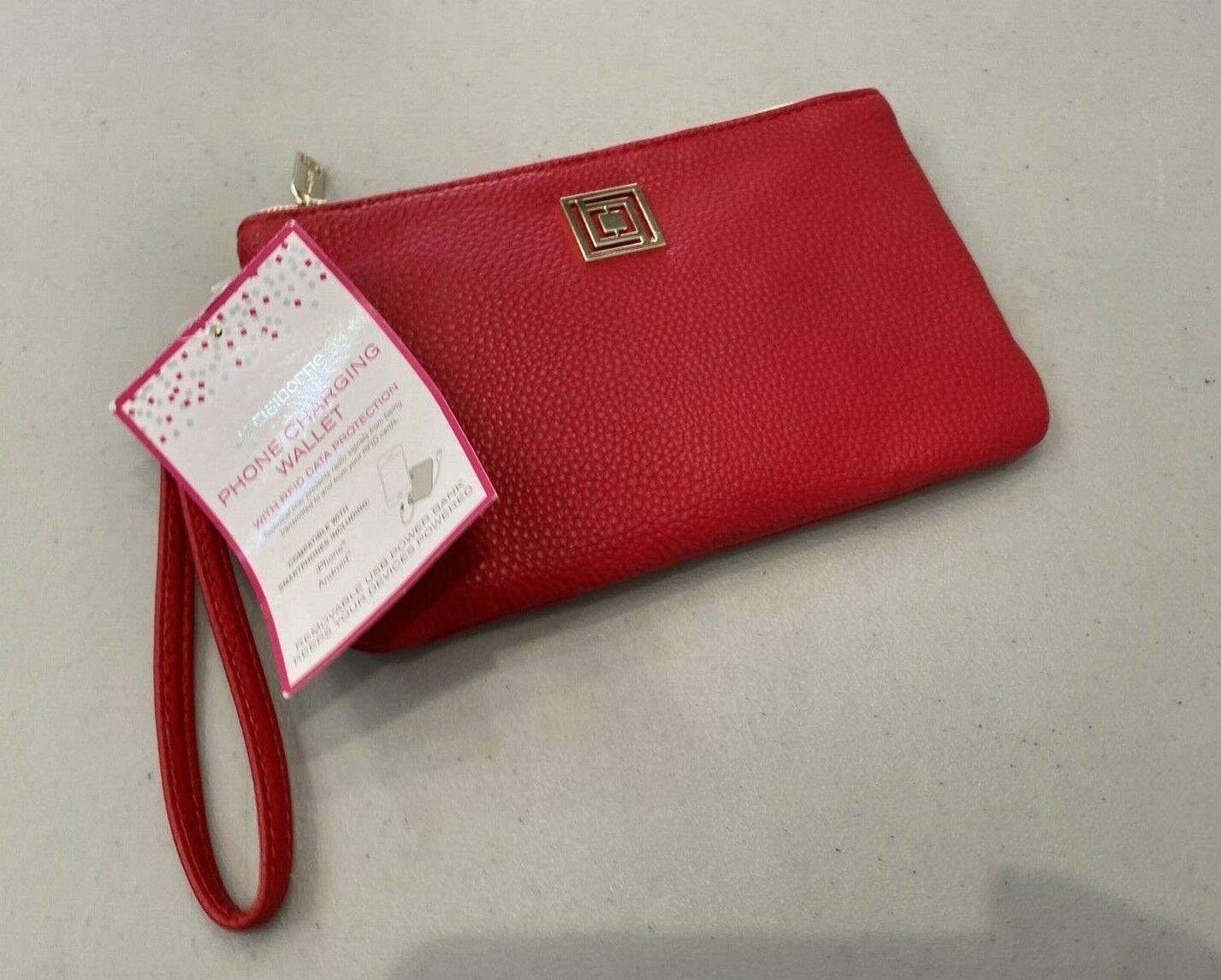 NEW! LIZ CLAIBORE Phone Charging Wristlet Wallet - Cabaret Red