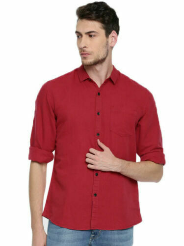 Men/'s Cotton Shirts Fashion Stylish Casual Slim Fit Long Sleeve Soild Shirt