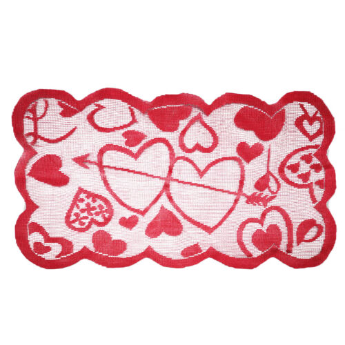 Red Vintage Lace Table Runner Mats Wedding Party Valentine/'s Day Dining Decor