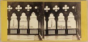 Italia-Venezia-Isola-Da-San-Giorgio-Maggiore-c1865-Foto-Stereo-Vintage-Albumina
