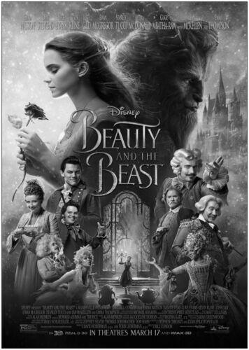 Beauty And The Beast Movie Large Poster Art Print Black /& White Card or Canvas