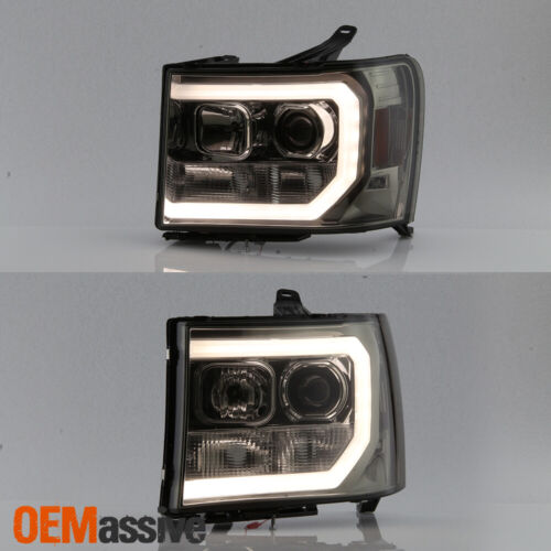 For 07-13 GMC Sierra 1500//2500HD//3500HD Smoked DRL LED Tube Projector Headlights