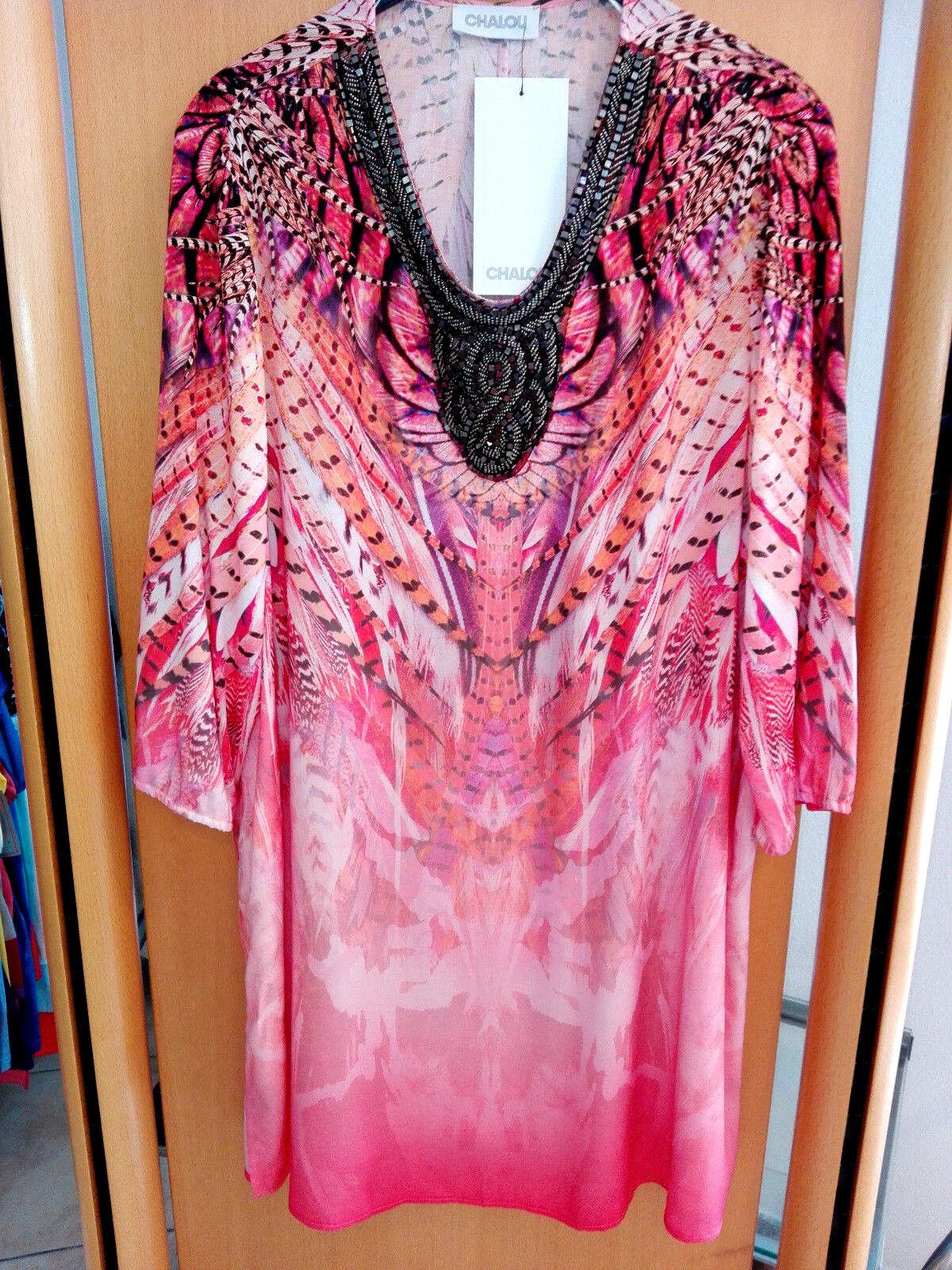 Sempre piu by Chalou 3 4 Arm Damen Tunika mit Steinen lachs Gr.44 große Größen