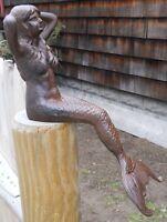 Cast Iron Sitting Mermaid Figure Nautical Decor Statue, New, Free Shipping