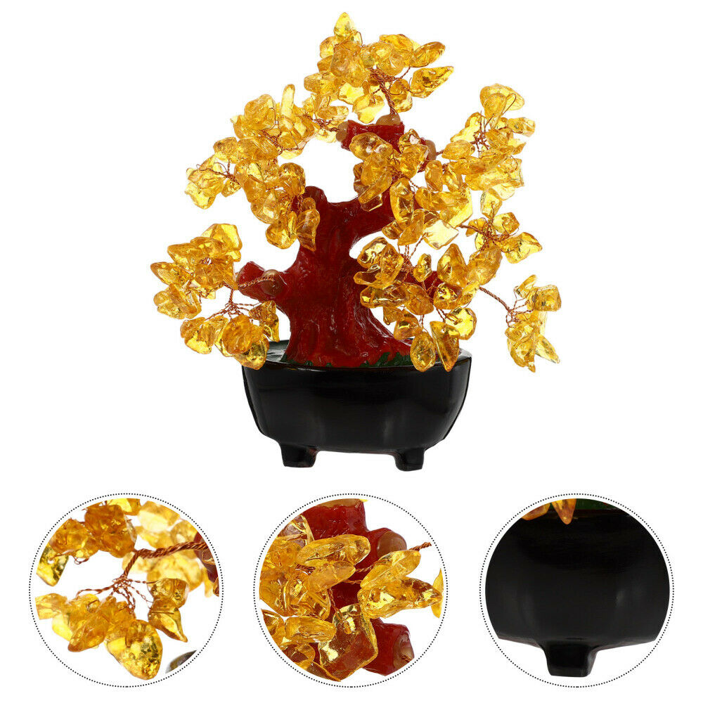 1PC Yellow Crystal Luck Tree Ornament for Room Store Home Dorm