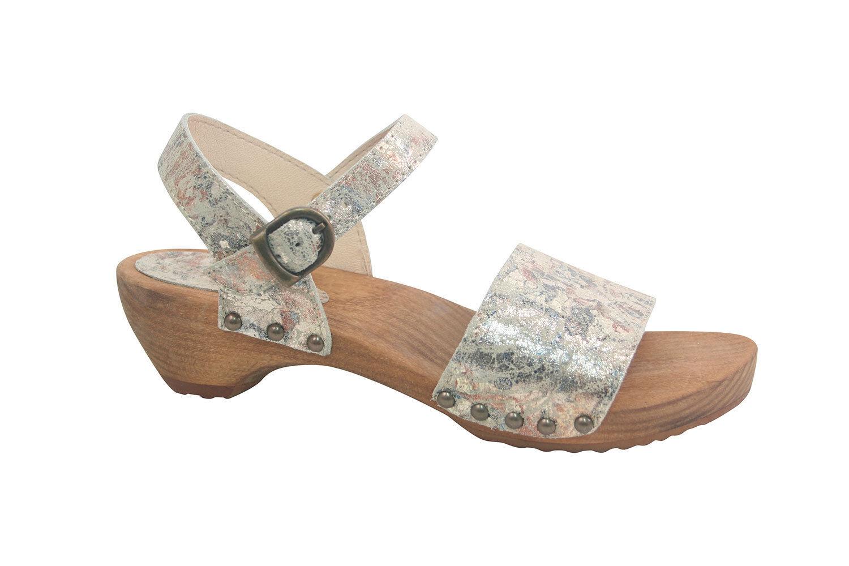 Sanita Carrara Damen Sandaletten Sandalen Schlappen Holzsohle Clog - NEU
