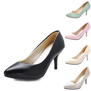womens-high-heels-office-ladies-Pumps-mid-heel-Shoes-Size-0-1-2-3-4-5-6-7-8-9-10