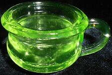 Green Vaseline glass Children mug / cup tea party uranium Canary yellow baby ABC