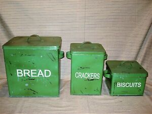 Vintage-Style-Tin-Large-Bread-Box-Biscuits-Crackers-Canisters-Distressed-Green