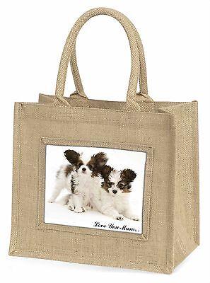 Papillon Hunde 'Liebe, die Sie Mama' Große Natürliche Jute-einkaufstasche Chri,