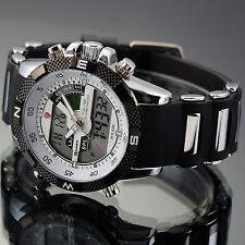 SHARK Mens LCD Digital Date Black Rubber Military Luxury Quartz Sport Watch+Box