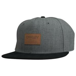 Oakley REPO X Cap Grey Black Snapback Adjustable Leather Logo Flat ... e1bdf666bda