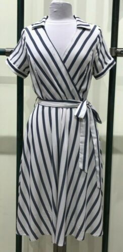 Eva Rose Outer Banks Wrap Shirt Dress Fit /& Flare With Fold Over Collar