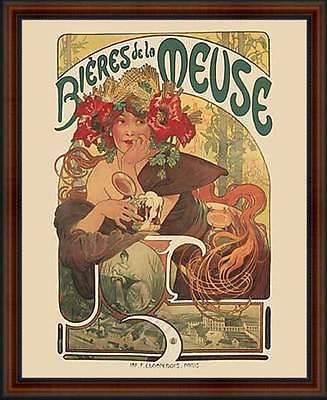 Bières de la Meuse by Alphonse Mucha. Framed Fine Art Reproduction Poster Walnut