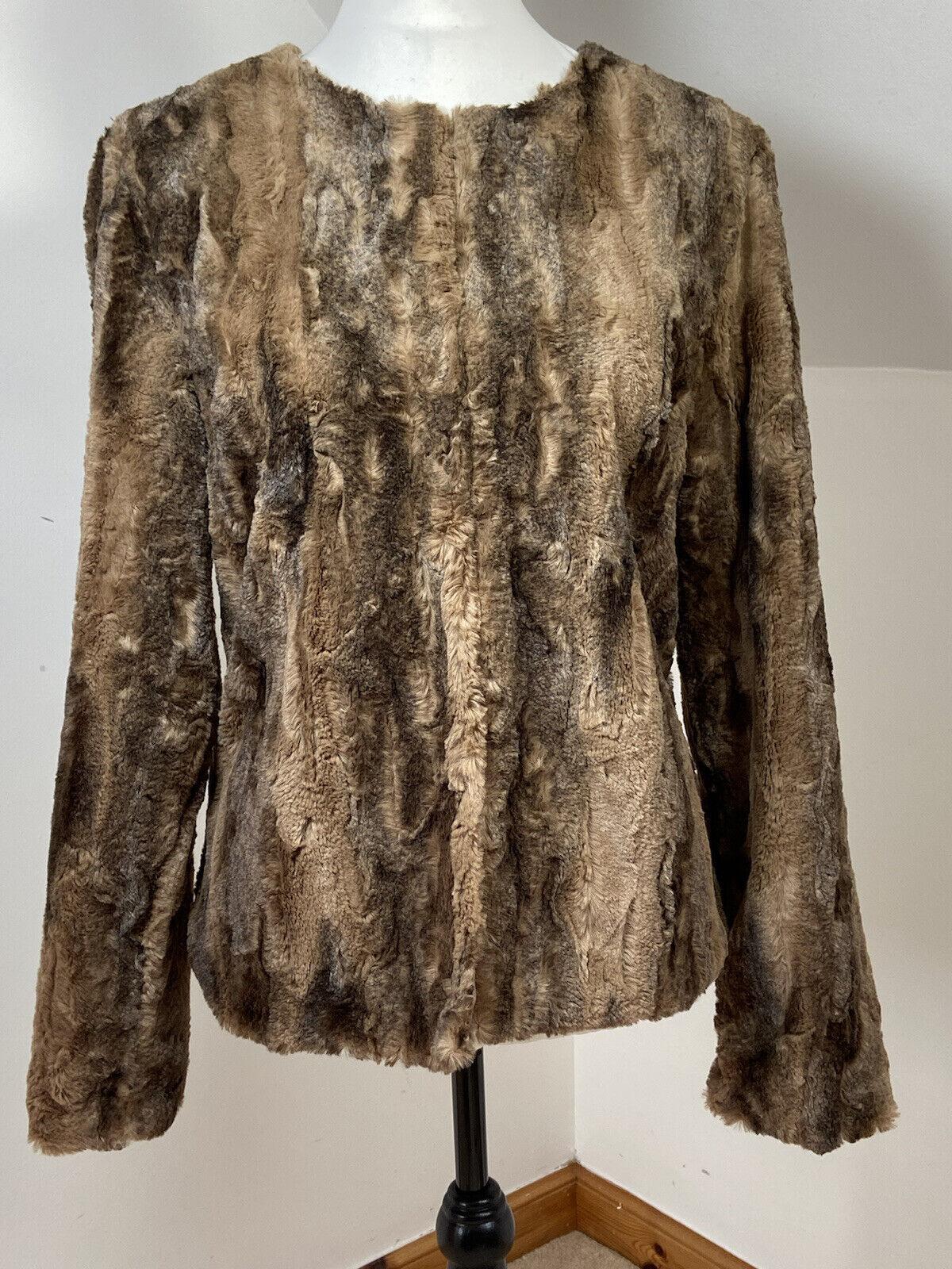 NEXT Casual Faux Fur Brown Short Jacket Size UK 16 Soft Womans