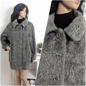 VINTAGE-70-s-gris-fausse-fourrure-veste-Teddy-manteau-Boho-Oversize-M-L-12-14-40-42